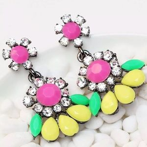 Statement earrings colorful sparkling